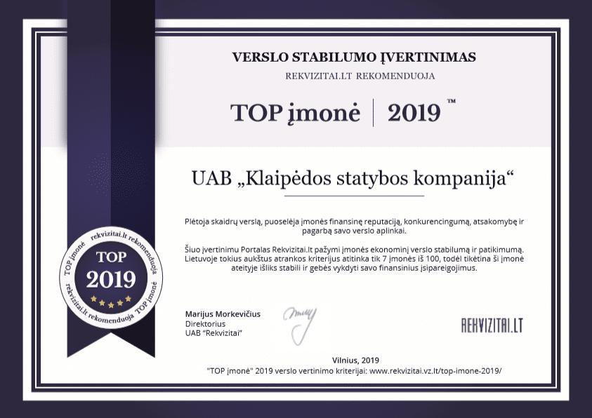 finansinis stabilumas ksk top imone lietuvoje 2019